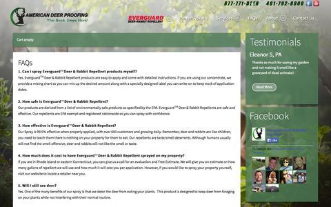 Screenshot of FAQ Page deerproofing.com - FAQs - captured Oct. 4, 2014