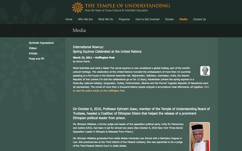 Screenshot of Press Page templeofunderstanding.org - Media - Temple of Understanding - captured Oct. 9, 2014