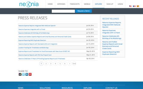 Screenshot of Press Page nexonia.com - Expense Reports and Timesheets Press Releases - Nexonia - captured Sept. 24, 2014