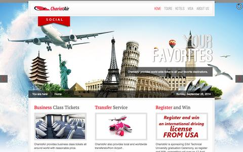 Screenshot of Home Page chariotair.com - ChariotAir Travel Agent - captured Sept. 29, 2014