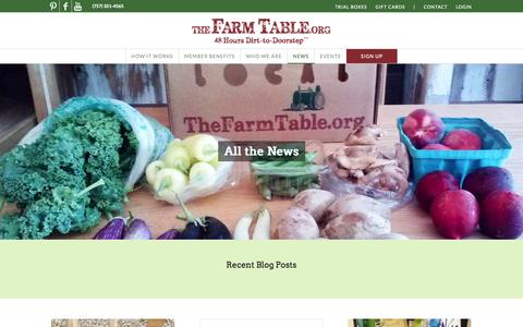 Screenshot of Press Page thefarmtable.org - News - The Farm Table - captured Oct. 7, 2014