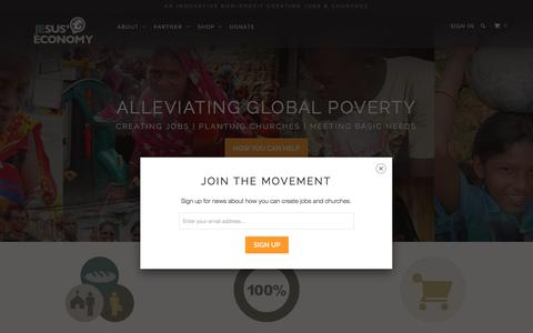Screenshot of Home Page jesuseconomy.org - Jesus' Economy: Shop Fair Trade, Create Jobs and Churches. - captured June 8, 2017