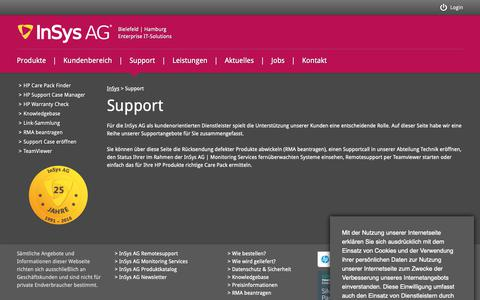 Screenshot of Support Page insys.de - InSys AG | IT-Solutions - captured Dec. 19, 2018
