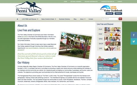 Screenshot of About Page pemivalley.com - About Us - Pemi Valley Chamber of Commerce & Visitor Information Center - captured Oct. 2, 2014