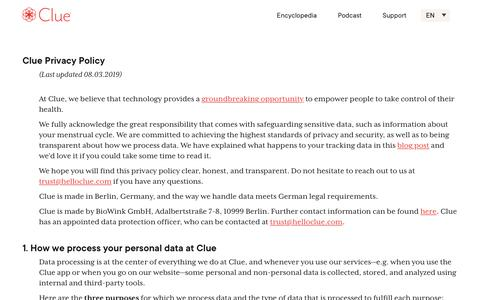 Screenshot of Privacy Page helloclue.com - Privacy Policy - captured Nov. 2, 2019