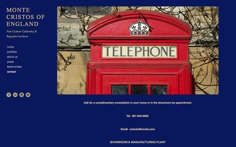 Screenshot of Contact Page montecristosofengland.com - Contact — MONTE CRISTOS OF ENGLAND - captured Oct. 7, 2014