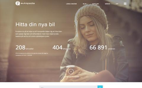 Screenshot of Home Page autopedia.se - Hitta din nya bil - Autopedia - captured Sept. 11, 2015
