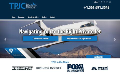 Screenshot of Home Page theprivatejetcompany.com - Private Jet Sales Company - captured Jan. 23, 2016