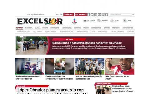Screenshot of Home Page excelsior.com.mx - Excélsior | El periódico de la vida nacional - captured Sept. 21, 2018