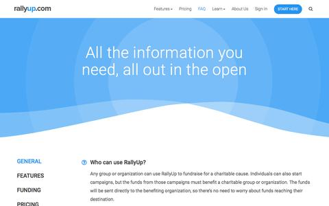 Screenshot of FAQ Page rallyup.com - RallyUp: All the information you need, all out in the open - captured Nov. 12, 2017