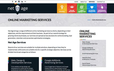 Screenshot of Services Page netage.co.za - Online Marketing Services - Net Age - captured Aug. 12, 2016