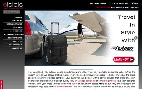 Screenshot of Home Page ec-bc.com - ECBC High Quality Laptop Backpacks, High Quality Carry-On Luggage, High Quality Messenger Bags - captured Jan. 22, 2016