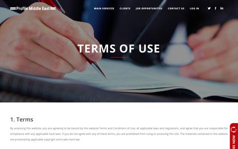 Screenshot of Terms Page profileme.ae - Terms of Use – Profile Middle East - captured Sept. 30, 2018