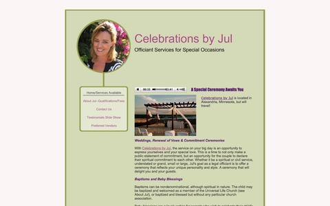 Screenshot of Home Page celebrationsbyjul.com - Celebrations by Jul - Home/Services Available - captured May 15, 2017