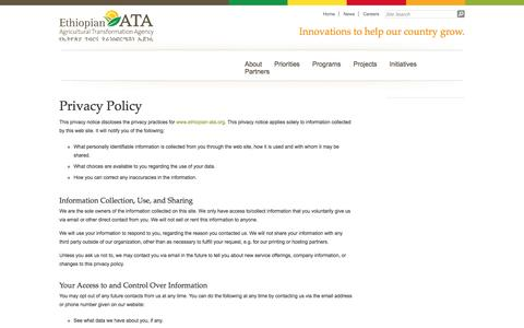 Screenshot of Privacy Page ata.gov.et - Privacy Policy « Ethiopian Agricultural Transformation Agency - captured Oct. 2, 2014