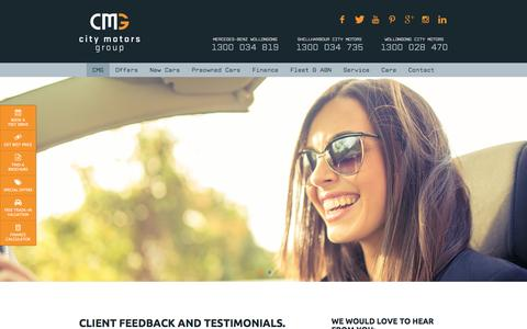 Screenshot of Testimonials Page citymotorsgroup.com.au - Car Dealer Reviews and Testimonials - New and Used Car Dealer in Wollongong and Albion Park Rail, South of Sydney, NSW | City Motors Group - captured May 17, 2017