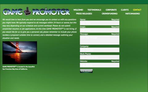 Screenshot of Contact Page gamepromoter.biz - Contact   GAME PROMOTER™ - captured Sept. 26, 2014