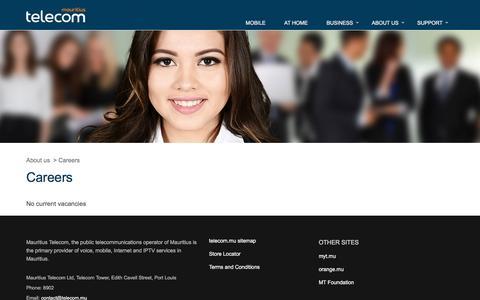 Screenshot of Jobs Page telecom.mu - Careers - Mauritius Telecom - captured Nov. 20, 2016