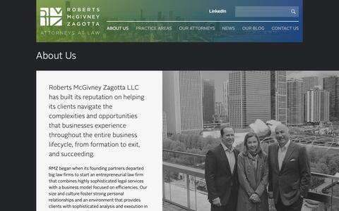Screenshot of About Page rmczlaw.com - Roberts McGivney Zagotta - captured Sept. 29, 2018