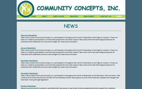 Screenshot of Press Page FAQ Page comconinc.net - communityconcepts | NEWS - captured Aug. 16, 2017