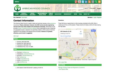 Screenshot of Contact Page awc.org - American Wood Council - captured Sept. 24, 2014
