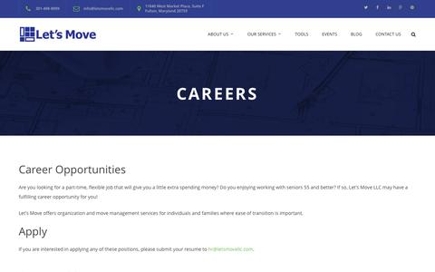 Screenshot of Jobs Page letsmovellc.com - Careers - Lets Move - captured July 13, 2016