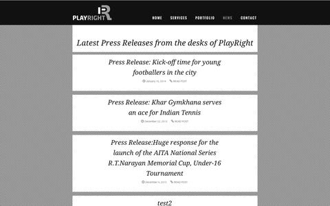 Screenshot of Press Page playright.in - Latest Press Releases from the desks of PlayRight - captured Sept. 30, 2014