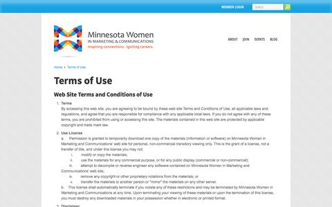 Screenshot of Terms Page mnwc.org - Terms of Use - Minnesota Women in Marketing and Communications - captured Oct. 4, 2014