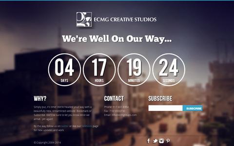 Screenshot of Home Page ecmgroups.com - New ECMG Website Coming August 2014 - captured Oct. 1, 2014