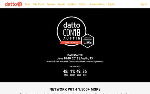 Screenshot of Home Page dattocon.com - Home - captured May 2, 2018