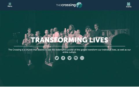 Screenshot of Home Page thecrossingchurch.com - Home - The Crossing - captured Feb. 18, 2016