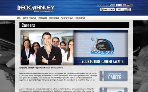 Screenshot of Jobs Page beckarnley.com - Careers - captured Sept. 30, 2014