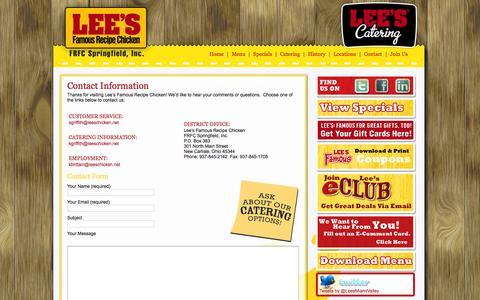 Screenshot of Contact Page leeschicken.net - FRFC Lee's Famous Recipe Chicken   » Contact FRFC Lee's Famous Recipe Chicken - captured Jan. 28, 2016