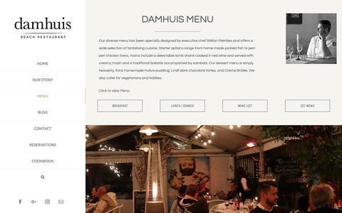 Screenshot of Menu Page diedamhuis.co.za - The Menu | Damhuis Restaurant - Melkbosstrand West Coast - captured Oct. 7, 2018