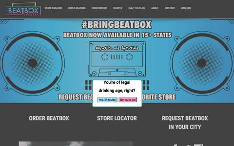 Screenshot of Home Page beatboxbeverages.com - BeatBox Beverages | A Party in a Box - captured Feb. 7, 2016