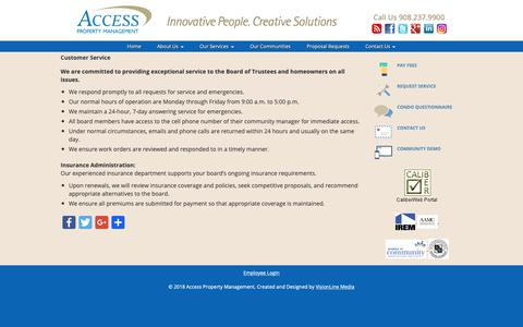 Screenshot of Support Page accesspm.com - Customer Service | Access Property Management - captured Oct. 2, 2018