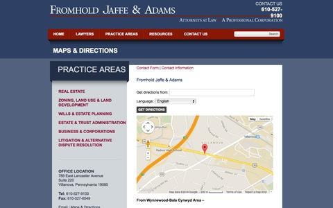 Screenshot of Maps & Directions Page fromholdjaffe.com - Maps & Directions to the Law Firm of Fromhold Jaffe & Adams   Pennsylvania Estate Plannig Attorneys - captured Oct. 6, 2014