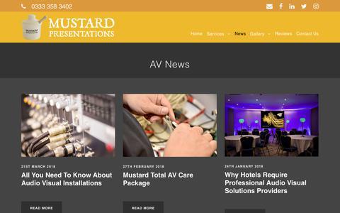 Screenshot of Press Page mustard.uk.net - News | Mustard Presentations - captured Sept. 29, 2018