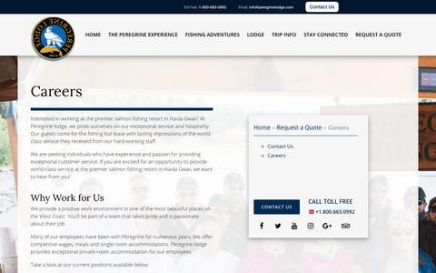 Screenshot of Jobs Page peregrinelodge.com - Careers | Peregrine Lodge - captured July 17, 2018