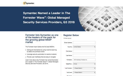 Screenshot of Landing Page symantec.com - Symantec - captured Sept. 21, 2018