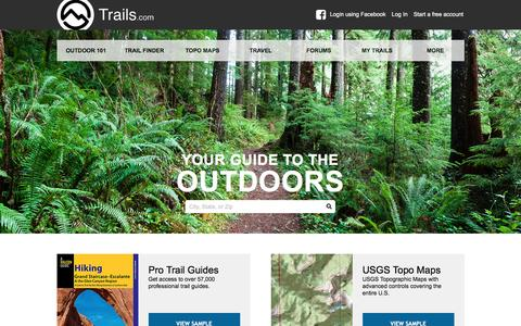 Screenshot of Home Page trails.com - Hiking Trails, Mountain Bike Trails & Trail Maps | Trails.com - captured Aug. 20, 2016