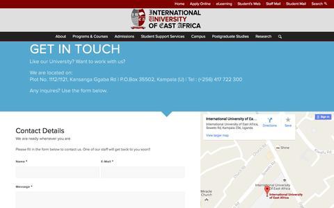 Screenshot of Contact Page iuea.ac.ug - IUEA | International University of East Africa |   Contact - captured Nov. 26, 2016