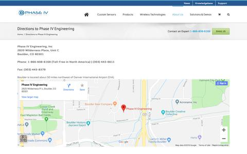 Screenshot of Maps & Directions Page phaseivengr.com - Directions to Phase IV Engineering - Phase IV Engineering Inc. - captured Sept. 27, 2018
