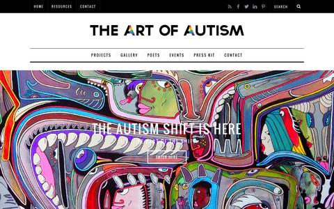 Screenshot of Home Page the-art-of-autism.com - The Art of Autism a collaboration of autistic artists, poets, and entertainers - captured March 5, 2016