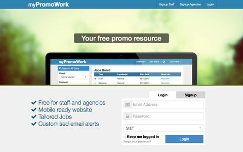 Screenshot of Home Page mypromowork.com - Welcome to myPromoWork - captured Oct. 9, 2014