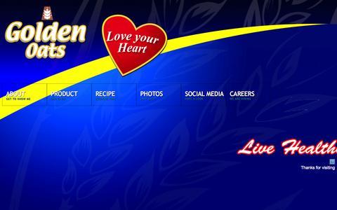 Screenshot of Home Page goldenoatsplus.com - Golden Nutritious Foods Corporation - captured Oct. 3, 2014