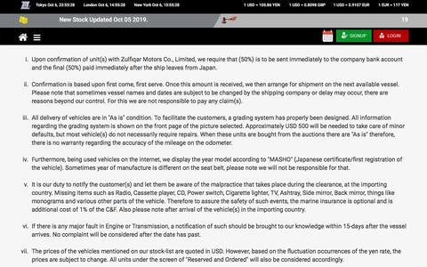 Screenshot of Terms Page zulfiqar.co.jp - Terms and Conditions   Zulfiqar Motors Co., Ltd. - captured Oct. 6, 2019