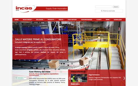 Screenshot of Home Page incasgroup.com - IncasGroup S.p.A. Supply Chain Automation - captured Oct. 3, 2014