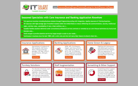 Screenshot of Home Page ittalentsource.com - IT Talent Source - scalable knowhow - captured Oct. 6, 2014