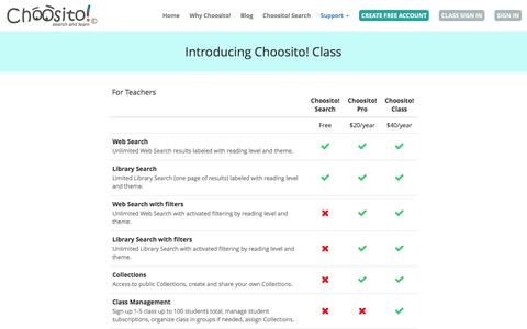 Screenshot of Pricing Page choosito.com - Choosito! - Pricing - Introducing Choosito! Class - captured Jan. 28, 2016